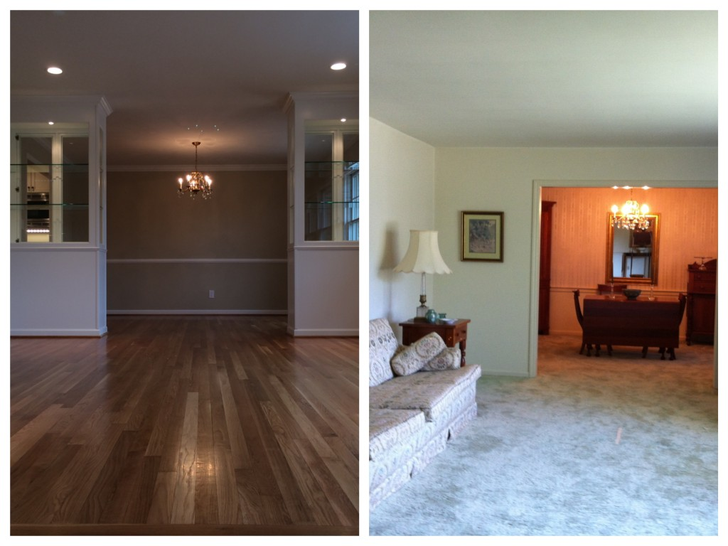 From the newly expanded entry, you can see the gleaming hardwood floors in the living room and dining room, along with the beautiful shelves that separate the two rooms but still make it feel like one space.