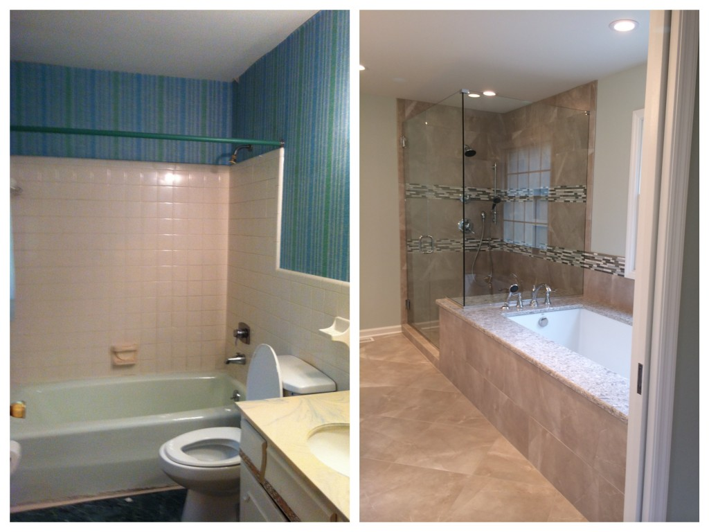 The original master bathroom, left, was transformed into a tranquil and sophisticated space.